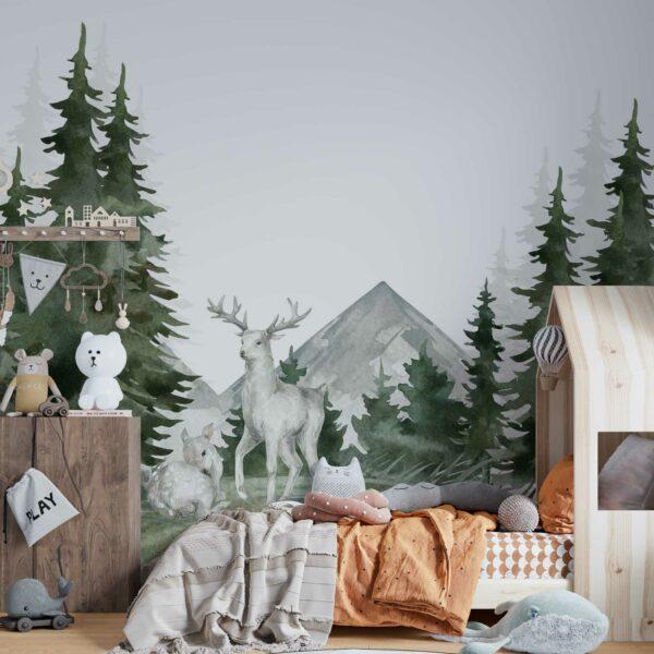 forest deer wallpaper wallmural