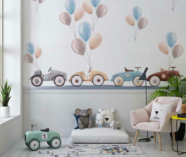 cars balloons wallpaper wallmural
