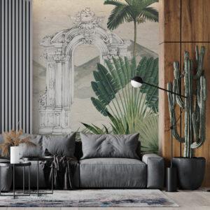 arcs palm leaves wallpaper