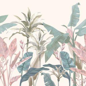 jungle tropical pastels wallpaper