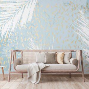 leaves blue wallpaper