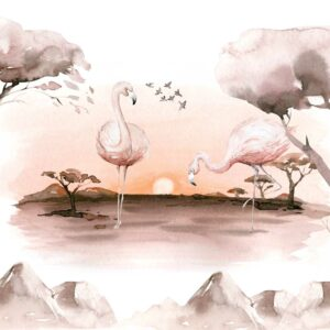 Flamingo in the balmy tropic